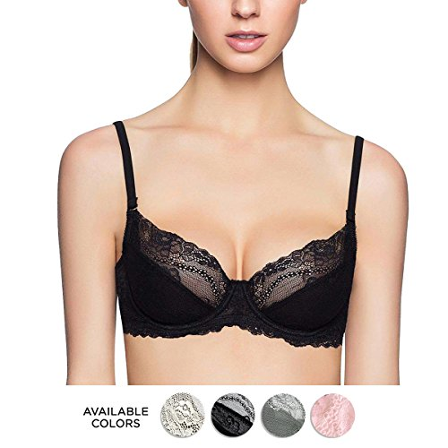 Eve's Temptation Bella Unlined Bra Comfortable and Sexy Lace up Bras for Women,Black,32B
