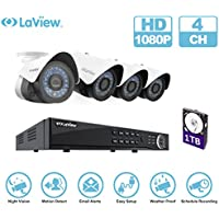 LaView IP 1080P HD Built-in PoE 4 Cameras 4 Channel NVR Security Camera System with 1TB and 4 of 2MP Bullet Cam Surveillance