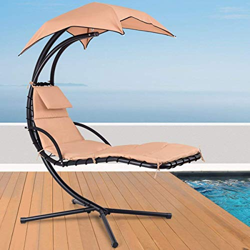 TechFaith Hammock Stand Outdoor Chair Outdoor Swings for Adults Patio Lounge Chair Outdoor Hanging Chair Outdoor Lounger Free Standing Hammock Yard Chair (Khaki)