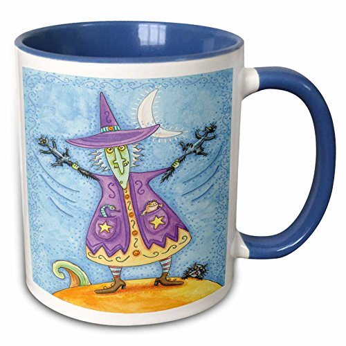 3dRose Anne Marie Baugh - Halloween - Halloween Witch With Screeching Cat In Each Hand Illustration - 15oz Two-Tone Blue Mug (mug_216762_11)]()