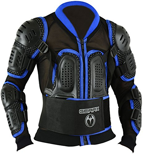 Kinder Motocross Rüstung Rücken Motorrad Schutz Jacke – Blau, L