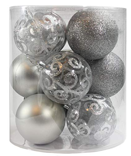 (Sleetly 12pk 4-Style Christmas Ball Tree Ornaments, Silver, 3.15 inches)