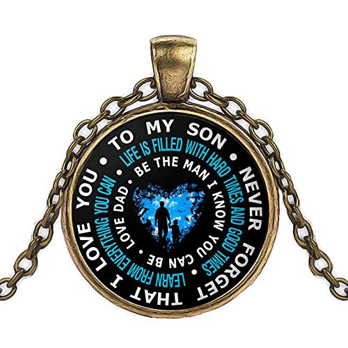 Necklace for Men Father And Son Necklace To My Son Never Forget That I Love You Neclace