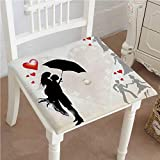 Mikihome Outdoor Chair Cushion Couple in Umbrella Red Hearts Daisies Romance in The Air Black White Red Comfortable, Indoor, Dining Living Room, Kitchen, Office, Den, Washable 26''x26''x2pcs