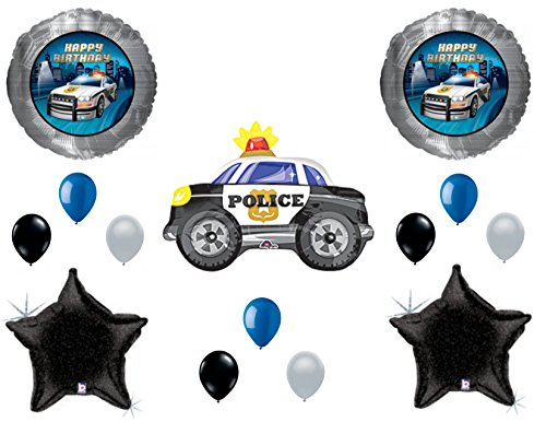 Police Car Birthday Balloons Decoration Supplies Party Cops Law Paw Patrol Blue Lives -