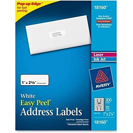 18160 avery address labels 1 width x 262 length 300 pack