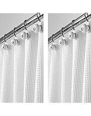 mDesign Zestaw 2 luksusowych zasłon prysznicowych z mieszanki bawełny – fajna zasłona prysznicowa z wzorem waflowym – łatwa w pielęgnacji zasłona do wanny – biała