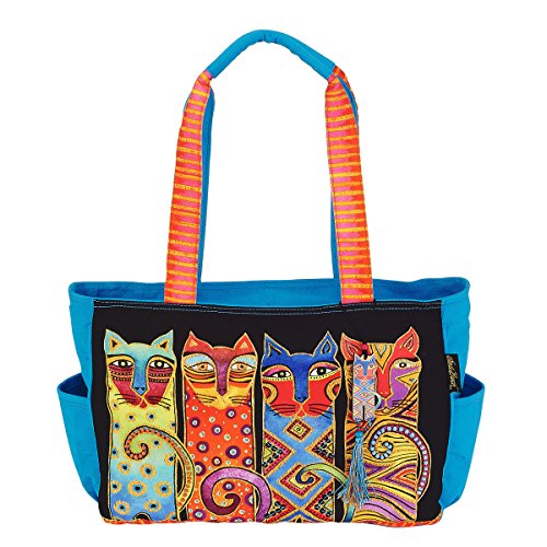 - Laurel Burch Feline Clan Medium Cat Tote Handbag Purse