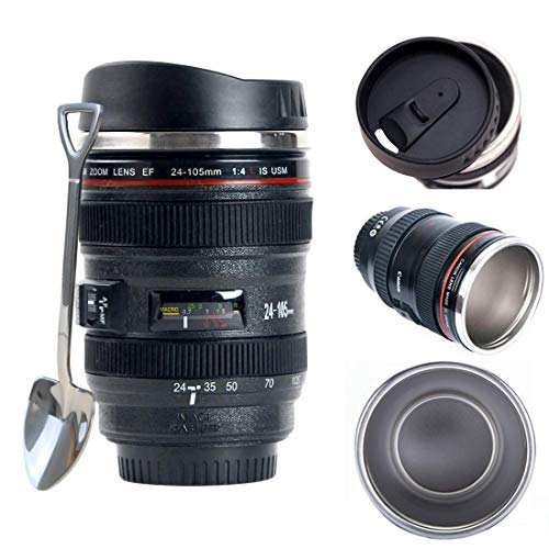 Camera Lens Coffee Mug/Cup With Lid + Bonus Cute Spoon, Photo Coffee Mugs Stainless Steel Photographer Travel Lens Mug Thermos 13.5oz TMANGO