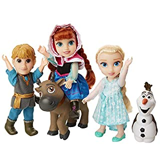 Disney Frozen Deluxe Petite Doll Gift Set - Includes Anna, Elsa, Kristoff, Sven and Olaf Dolls are Approximately 6 Inches Tall - Perfect for Any Frozen Fan