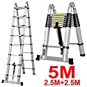 Oshion 16.5ft EN131 Aluminum Telescoping Telescopic Extension Ladder 330 Pound Capacity