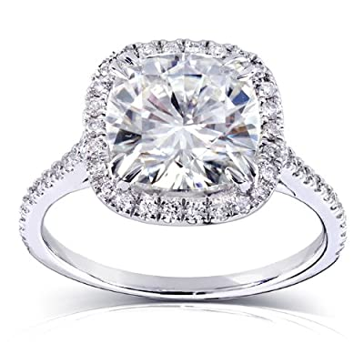 Cushion-cut Moissanite and Diamond Engagement Ring 3 Carat (ctw) in 14k White Gold (8.5mm)