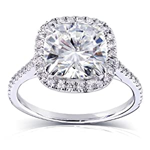 Cushion cut Moissanite Engagement Ring with Diamond 3 CTW 14k White Gold (8.5mm)