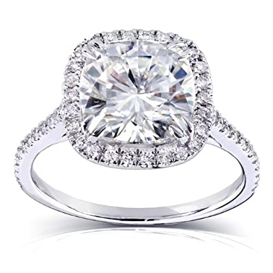 Cushion cut Moissanite Engagement Ring with Diamond 3 CTW 14k