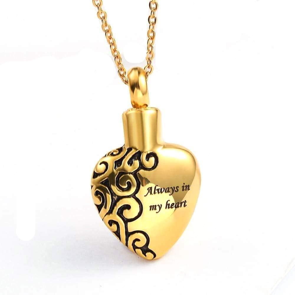 MYXMY Acero Inoxidable cremación urna Collar / 18K Chapado en Oro Personalizado Grabado Piedra del Monumento de Recuerdo/joyería Pendiente del Locket Cenizas con Cadena (Color : Gold)