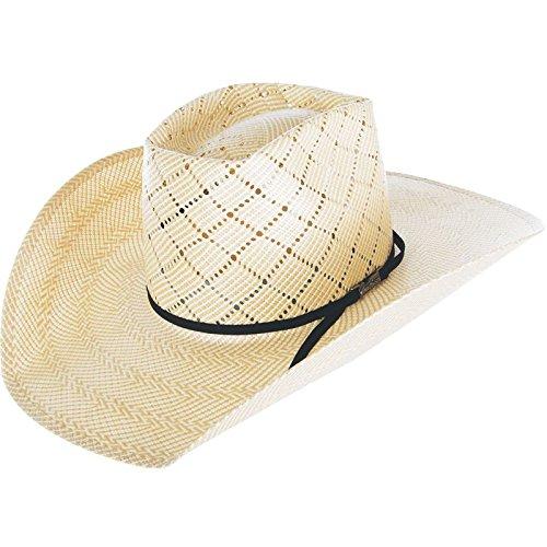 NRS American Hat Company Womens 20 Star Patchwork Crossbred 4 1/4 Brim White Straw Cowboy Hat 71/4 White/Black