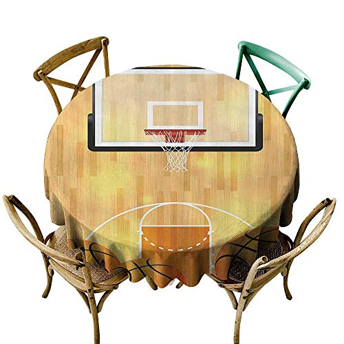 StarsART Round Tablecloth Sports Decor Collection,Basketball Court Ball and Hoop Madness Rim Court Parquet Hardwood Picture Print,Ivory Orange Black D54,Round Tablecloth