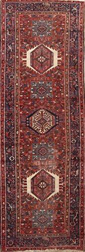 Gharajeh Persian Rugs - Rug Source Vintage Traditional Gharajeh Persian 13 ft Long Rug Runner for Hallway