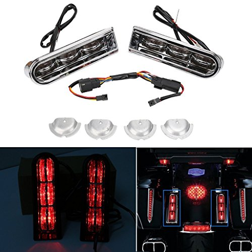Kawayee Chrome/Red LED Accent Saddlebag Filler Insert Support Inserts Light For 14-17 Harley (Tail Light Insert Accents)
