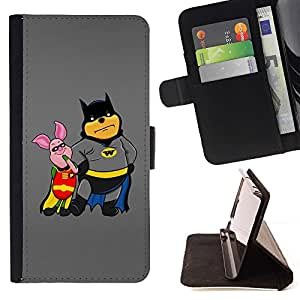 DEVIL CASE - FOR Samsung Galaxy S4 Mini i9190 - Funny Bat Pooh & Pig - Style PU Leather Case Wallet Flip Stand Flap Closure Cover