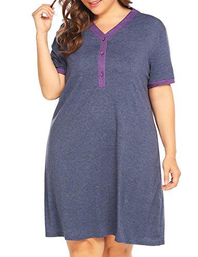 Aimado Women Loose Short Sleeve Maternity Breastfeeding Plus Night Dress(XL,5XL)