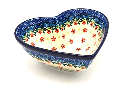 Polish Pottery Bowl - Deep Heart - Cherry Jubilee