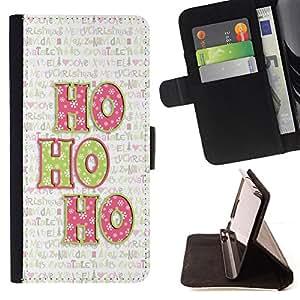 """For Sony Xperia M4 Aqua,S-type Navidad del día de fiesta de invierno Texto"""" - Dibujo PU billetera de cuero Funda Case Caso de la piel de la bolsa protectora"""
