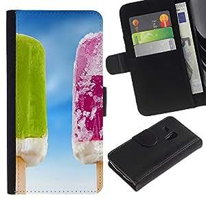 iKiki Tech / Cartera Funda Carcasa - Ice Cream Summer Frozen Fruit Sky - Samsung Galaxy S3 MINI NOT REGULAR! I8190 I8190N