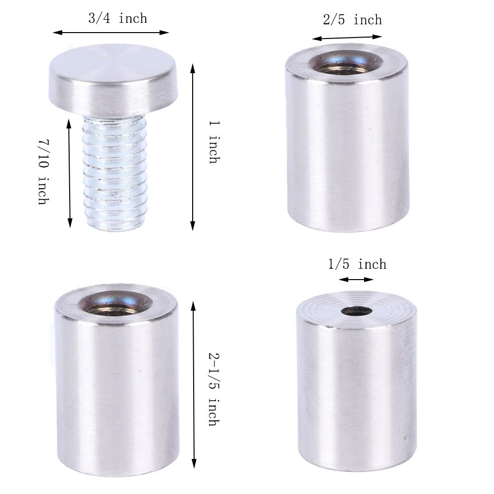 """Osring 3//4/"""" Dia x 2-2//5/"""" Ln Stainless Steel Standoffs Brushed Nickel Set of 8 Glass Standoff Screw Mounting Wall Standoff Holder for Sign and Glass"""
