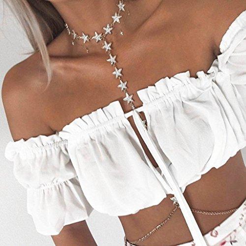 MagiDeal Camiseta de Mujer Chica para Uso Casual Club Playa Fiesta de Vestir blanco