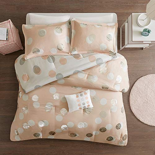 3 Pc Glam Style Blush Pink Pintuck Comforter Set, Adorable Modern Metallic Polka Dot Design Twin Bed Set, Fashionable Fun Look Contrasting Colors Reversible All Seasons Hypoallergenic Chic Bedding