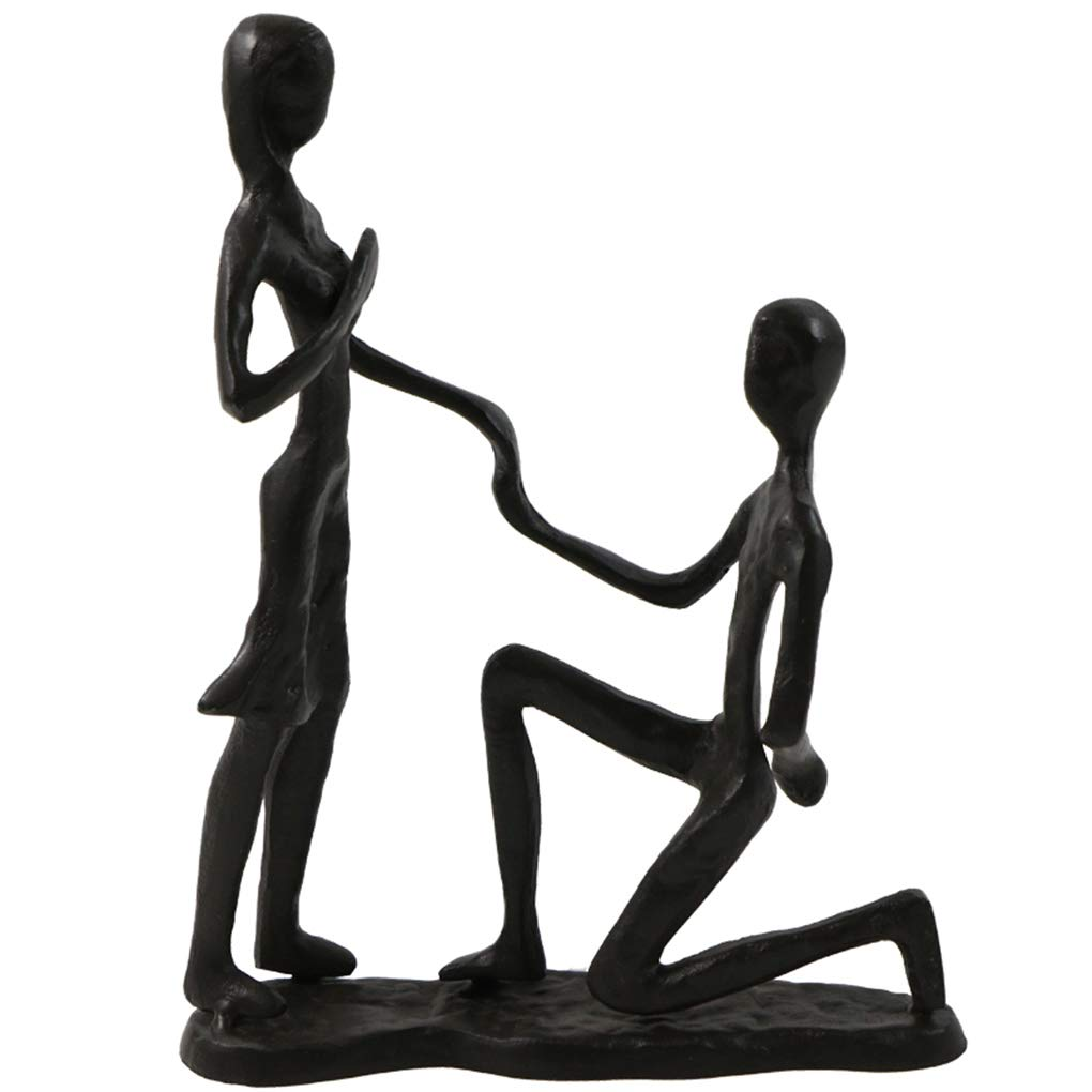 Passionate Propose Marriage Sculpture Art Iron Statue Romantic Metal Ornament Couple Figurine Home and Office Decor (A6 Propose)