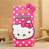 Mezmo 3D Cute Hello Kitty Silicone With Pendant Back Case Cover For Samsung Galaxy Core Prime