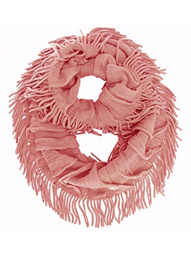 - Salmon Pink Soft Knit Ruffle Loop Scarf With Fringe