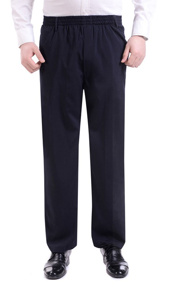 Soojun Men's Casual Straight Leg Full Elastic Waist Pull On Pants, Navy, X-Large