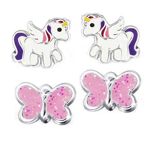 SL de Silver 2pares pendientes set Unicornio y mariposas brillo 925plata en caja de regalo