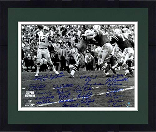 Framed 1969 New York Jets Team Signed Super Bowl III Joe Namath Throwing 16X20 Photograph - Steiner Sports Certified