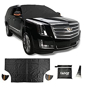 Tadge Goods XL Magnetic Ice Shield Snow Cover For Windshield – Smart Frost Guard Winter Protector Fits Car, Truck, SUV, Van - Free Bonus Ice Scraper & Travel Pouch