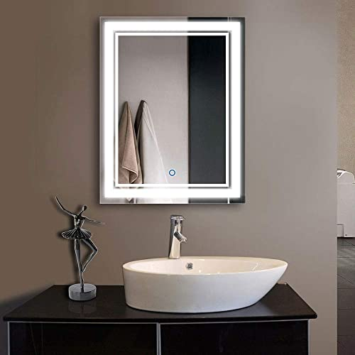 Decoraport 28 Inch 36 Inch Vertical LED Wall Mounted Lighted Vanity Bathroom Silvered Mirror with Touch Button A-CK160-I