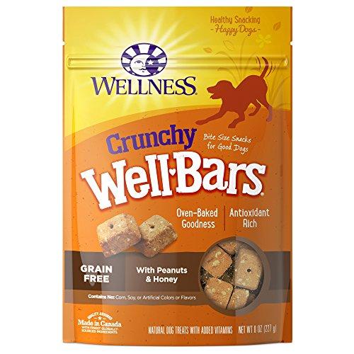 Wellness Crunchy Wellbars Natural Grain Free Dog Treats, Peanuts & Honey, 8-Ounce Bag
