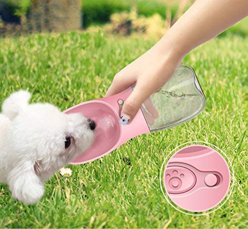 M&MKPET Dog Water Bottle for Walking Portable Dog Water Dispenser Pet Travel Drink Cup with Bowl -Food Grade Silicone|BPA Free