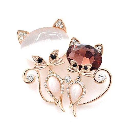 Rhinestone Kitty Cat Brooch Pin - 9