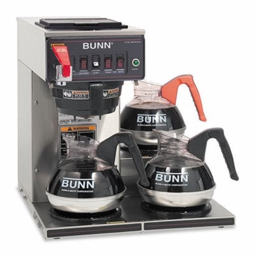- BUNN Commercially Rated Automatic Brewer, 12-Cups, 3-Burners, Stainless Steel
