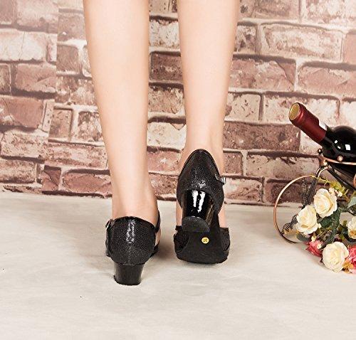 Strap Leather Ballroom QJ6133 Salsa Glitter 3 Shoes Womens Dance T High Closed 5cm Heel Black Heel Latin Toe Minitoo PU Tango 06xF6P