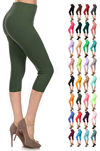 Leggings Depot Women's Popular Basic Capri Cropped Regular and Plus Solid High Waist Leggings (Plus (Size 12-24), (Khaki Green Color)