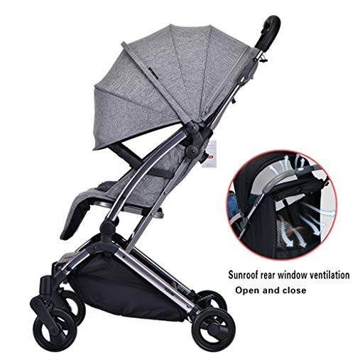 JIAX Foldable Baby Stroller,Travel System with Baby Basket Anti-Shock Springs Newborn Baby Pushchair Adjustable High View Pram Travel System Infant Carriage Pushchair (Color : Gray)