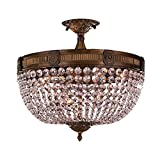 Worldwide Lighting Winchester Collection 6 Light Antique Bronze Finish and Clear Crystal Semi Flush Mount Ceiling Light 20″ D x 16″ H Large