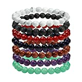 Milakoo 8MM Natural Gemstone Healing Power Round Elastic Stretch Bracelet Tiger Eye/Amethyst