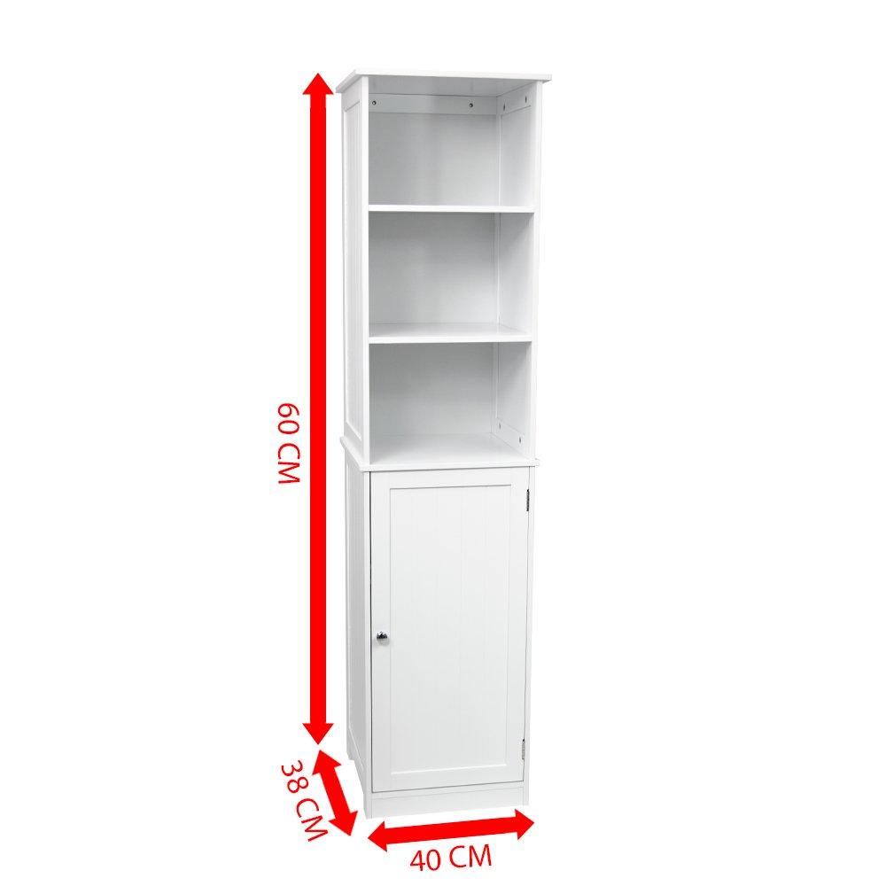 Home Discount Priano Bathroom Cabinet Storage Cupboard Floor Standing  Tallboy Unit, White: Amazon: Kitchen & Home