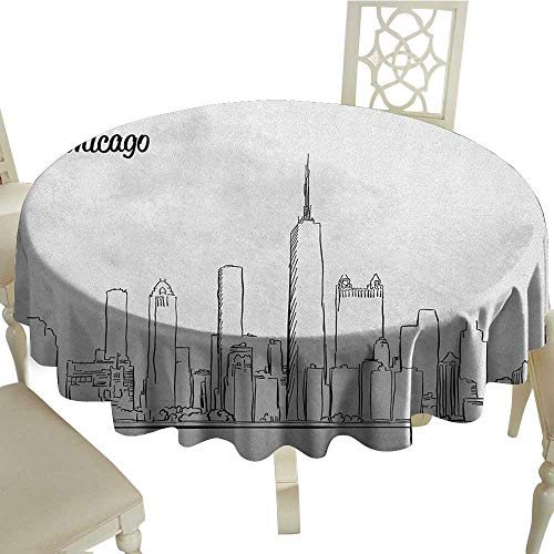 longbuyer Chicago Skyline Printed Tablecloth Hand Drawn City Silhouette Downtown Free Hand Sketch of Panoramic Landmark Diameter 70